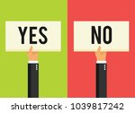 hands holding different sign.... | Shutterstock .eps vector #1039817242