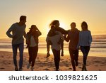 silhouette of friends having... | Shutterstock . vector #1039821625