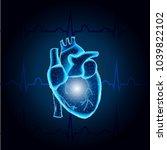 polygonal human heart  in low... | Shutterstock .eps vector #1039822102