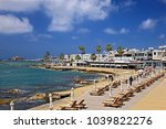 "Small photo of KATO PAPHOS, CYPRUS- April 7, 2017. The Municipal Baths beach known to locals as ""Bania""."