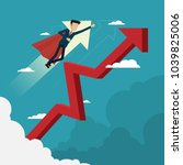 businessman hero flying fast on ... | Shutterstock .eps vector #1039825006