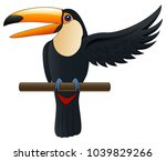 happy cute cartoon toucan.... | Shutterstock .eps vector #1039829266