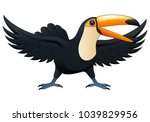 happy cute cartoon toucan.... | Shutterstock .eps vector #1039829956