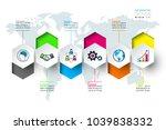 business hexagon labels shape... | Shutterstock .eps vector #1039838332