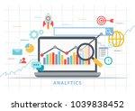 digital analytics with laptop... | Shutterstock .eps vector #1039838452