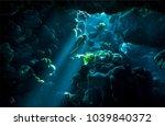 underwater cave sunbeam scene.... | Shutterstock . vector #1039840372