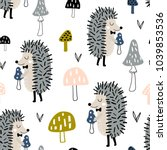 Stock vector seamless childish pattern with cute hedgehog and mushrooms creative woodland kids texture for 1039853536