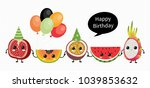 cute vector birthday card with... | Shutterstock .eps vector #1039853632