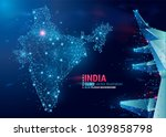 map of india. floating blue... | Shutterstock .eps vector #1039858798