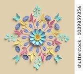 3d render  floral kaleidoscope  ... | Shutterstock . vector #1039859356