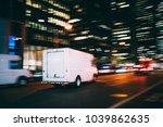 white truck of logistic... | Shutterstock . vector #1039862635