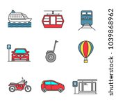 public transport color icons... | Shutterstock .eps vector #1039868962
