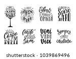 set of latin phrases. hand... | Shutterstock .eps vector #1039869496