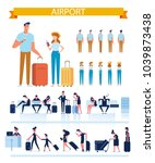 man and woman with luggage at... | Shutterstock .eps vector #1039873438