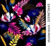 a dark summer night trendy... | Shutterstock .eps vector #1039873645