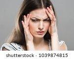 emotional face woman portrait ... | Shutterstock . vector #1039874815