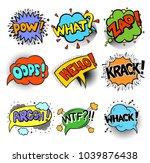 set of pop art style comic... | Shutterstock .eps vector #1039876438