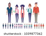 big vector set of young male... | Shutterstock .eps vector #1039877362