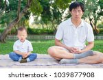 father with eyes closed and... | Shutterstock . vector #1039877908