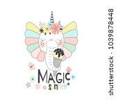 fancy cute elephant unicorn... | Shutterstock .eps vector #1039878448