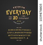 font everyday 3d. craft retro... | Shutterstock .eps vector #1039878805