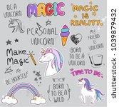 unicorn slogan set isolated on... | Shutterstock .eps vector #1039879432