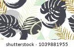 seamless pattern with  golden... | Shutterstock .eps vector #1039881955
