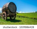 wine barrel on cart against...