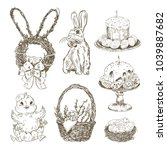 easter hand drawn illustrations ... | Shutterstock .eps vector #1039887682