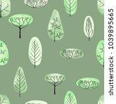 watercolor vector trees... | Shutterstock .eps vector #1039895665