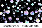 holographic bubbles on black.... | Shutterstock . vector #1039931488