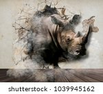 rhino comes out of the bedroom... | Shutterstock . vector #1039945162