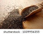 chia seeds in scoop on rustic...   Shutterstock . vector #1039956355