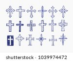 big set of blue doodle pen... | Shutterstock .eps vector #1039974472