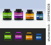 sport nutrition containers set. ... | Shutterstock . vector #1039983028