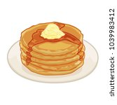 pancakes with butter and syrup | Shutterstock .eps vector #1039983412