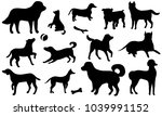 Stock vector set of icon dogs black silhouettes of a dog isolated on a white background collection of black 1039991152