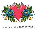 tattoo pink heart decorated... | Shutterstock .eps vector #1039992532