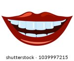 red smiled lips with healthy...   Shutterstock .eps vector #1039997215