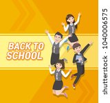 happy students jumping. girl... | Shutterstock .eps vector #1040006575