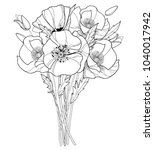 vector bouquet with outline... | Shutterstock .eps vector #1040017942