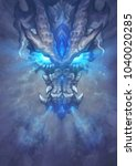 a huge white dragon in the... | Shutterstock . vector #1040020285