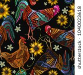 embroidery chicken  rooster and ... | Shutterstock .eps vector #1040023618
