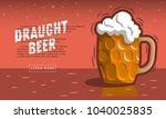 glass mug of draft beer with... | Shutterstock .eps vector #1040025835
