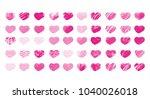 50 artistic  textured hearts...   Shutterstock . vector #1040026018