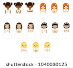 girls in their first communion... | Shutterstock .eps vector #1040030125