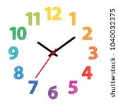 rainbow colored dial. clock... | Shutterstock .eps vector #1040032375
