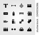 fitness icons set. vector... | Shutterstock .eps vector #1040036386