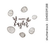 black easter lettering with... | Shutterstock .eps vector #1040039188