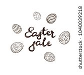 black lettering easter sale and ... | Shutterstock .eps vector #1040039218